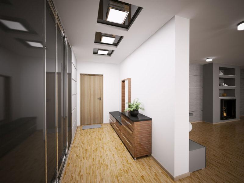 Soffitti tesi e tipi di luci nel corridoio. soffitto e illuminazione